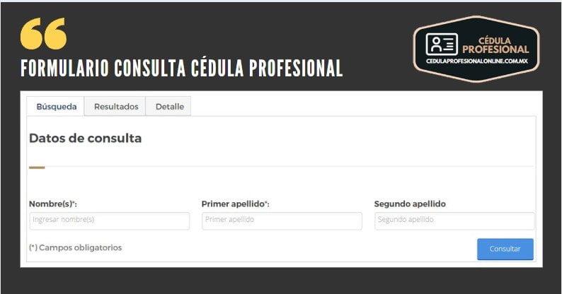 formulario consulta cedula profesional